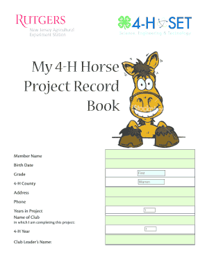 Fillable Online sussex4h My 4-H Horse Project Record Book - Sussex ...