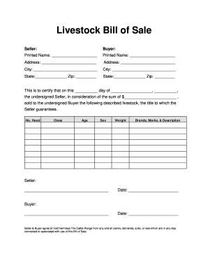 livestock bill of sale Fillable Online Livestock Bill of Sale - The Cattle Range Fax Email ...