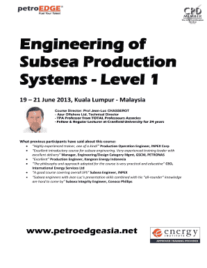 Engineering of Subsea Production Systems - Level 1 - PetroEdge Asia