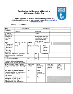 Guide Dog Rehoming >> Fillable Online Guidedogs Org Rehoming Application Form