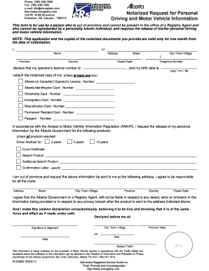 Fillable Online Notarized Request for Personal Driving and