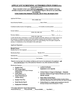APPLICANT SCREENING AUTHORIZATION FORM 07/11