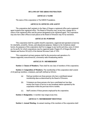 Bylaws Template Forms Fillable Printable Samples For PDF Word - Foundation bylaws template
