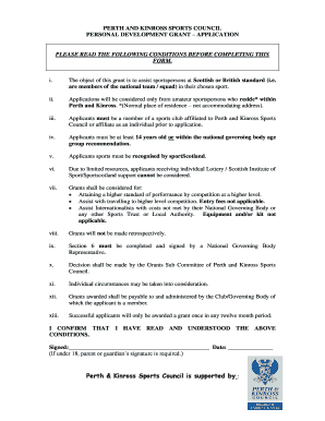 Download personal development grant application form (pdf)