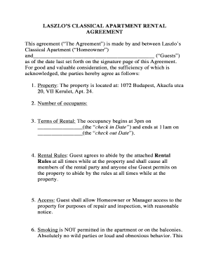 Rental Agreement amp Rules PDF - Laszlo39s Classic Budapest bb