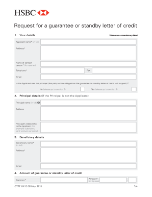 fillable online guarantee and standby lc application form pdf