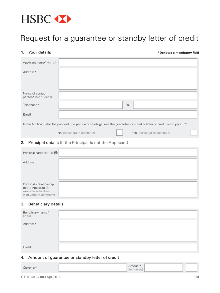 Fillable Online Guarantee and Standby LC application form