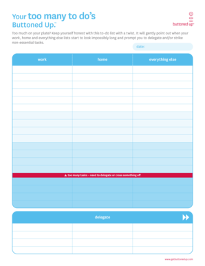 Free Printable Too Many To Do\'s Form Template