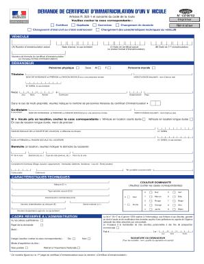 fillable online demande de certificat d immatriculation d un fax email print pdffiller. Black Bedroom Furniture Sets. Home Design Ideas