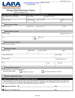 Fillable Online michigan Patient Change Form - State of Michigan ...