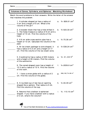 Volume Of Cones Cylinders And Spheres Matching Worksheet - Fill ...
