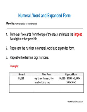 expanded form of 86  The Word Form K - Fill Online, Printable, Fillable, Blank ...