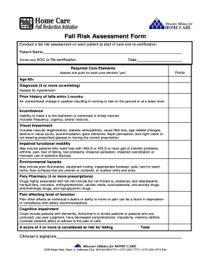 Fillable Online homecaremissouri Fall risk assessment form ...