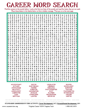 career word search Career Word Search - Fill Online, Printable, Fillable, Blank | PDFfiller
