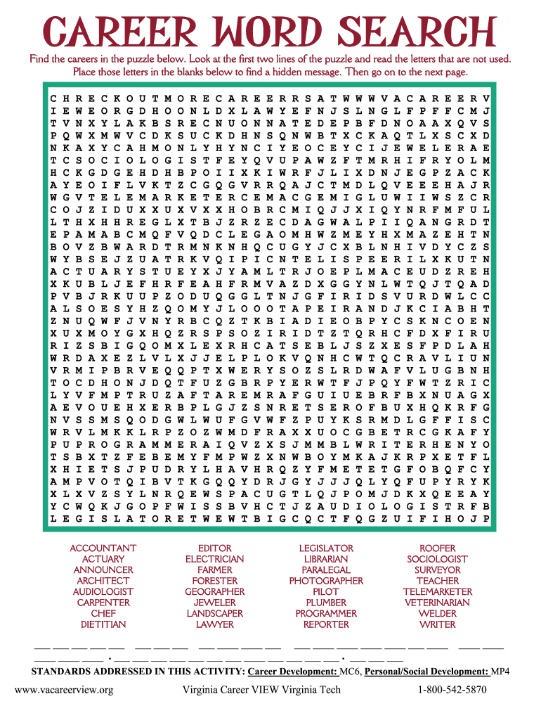Career Word Search - Fill Online, Printable, Fillable, Blank