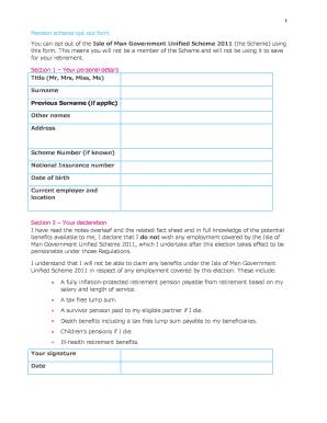 Fillable Online iomunifiedscheme Pension scheme opt out form ...