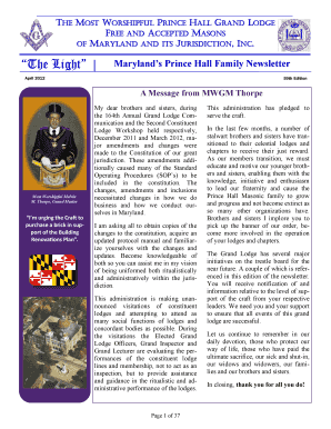 GL Newsletter, 59th - Prince Hall Grand Lodge of Maryland