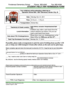 Student field trip permission form - meridianschools