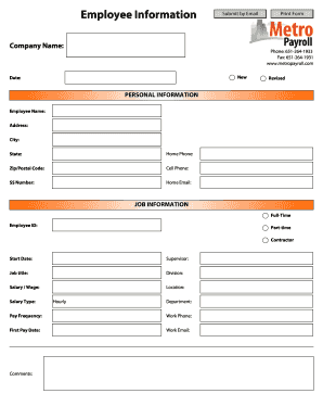 Editable Employee information form template free download - Fill ...