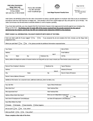 Fillable Online laborcommission utah Wage Claim Form - Late ...