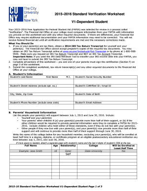 Printables Dependant Verification Worksheet fillable online 2015 2016 standard verification worksheet v1 fill online