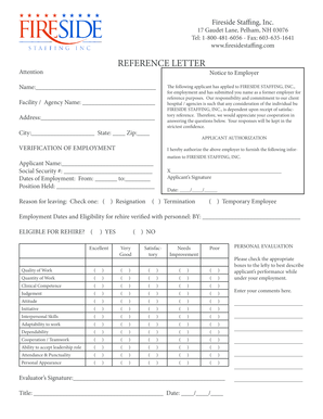 Employment Reference Letter - Fireside Staffing