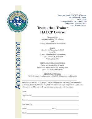 International HACCP Alliance 120 Rosenthal Center 2471 TAMU