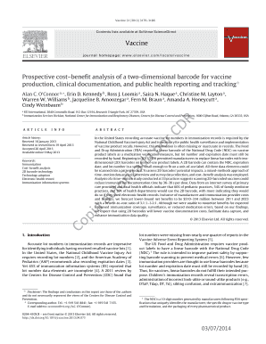 Prospective cost benefit analysis of a two-dimensional barcode for vaccine production, clinical documentation, and public health reporting and tracking. Vaccine, 31 (2013) 3179-3186. doi