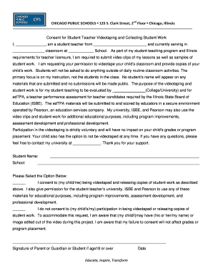 Fillable Online CPS edTPA Student Teacher Video Consent Form ...