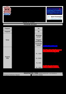 Fillable Online mcbl iisc ernet Workshop registration form
