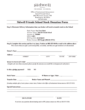 Sidwell Friends School Stock Donation Form