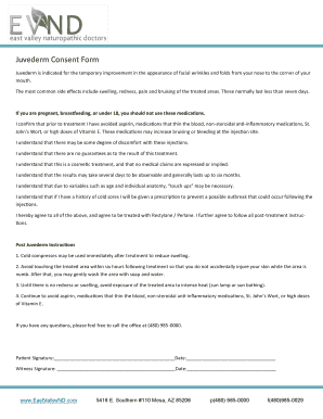 Juvederm Consent Form - Fill Online, Printable, Fillable, Blank ...
