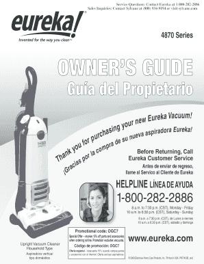 fillable online eureka boss smart vacuum owners manual sylvane rh pdffiller com Eureka Vacuum Cleaner Parts List Eureka Upright Vacuum Parts