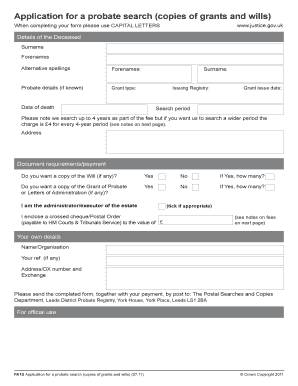 application for a probate search form