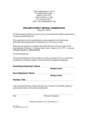 Medical Examination Form For Employment - Fill Online, Printable ...