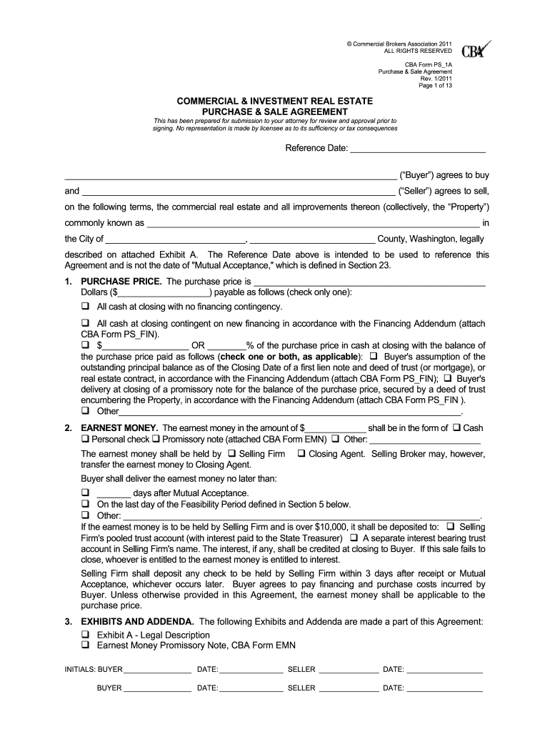 Commercial Real Estate Purchase Agreement Form - Fill Online