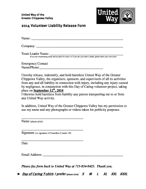 2014 Volunteer Liability Release Form   United  Liability Release Form