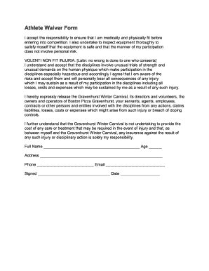 Athlete Waiver Form