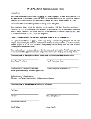 iylep recommendation form