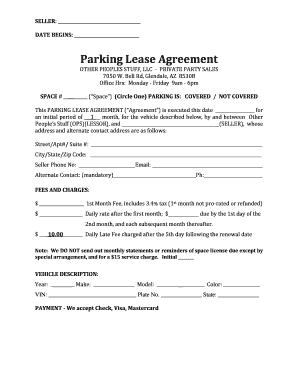 Parking Lease Agreement - Other Peoples Stuff