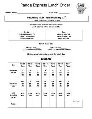 Fillable Online Panda Express Order Form March 2015 Fax Email ...