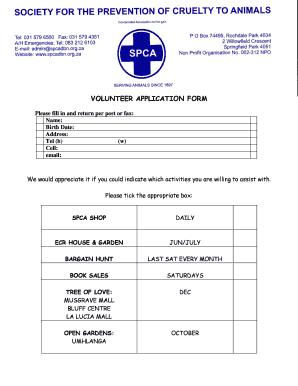 Applying To Volunteer At Durban Spca - Fill Online, Printable ...