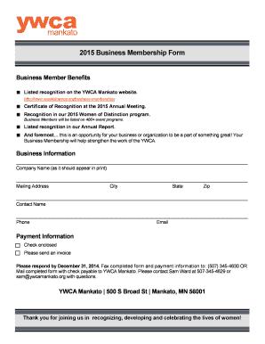 2015 Business Membership Form   YWCA Mankato  Membership Forms Templates