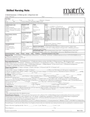 Fillable Online Skilled Nursing Note Matrix Home Health