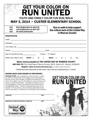 fillable online color run flyer registration form color indd wagar