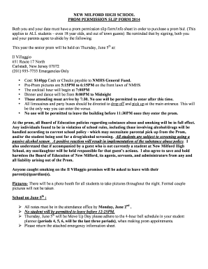 NEW MILFORD HIGH SCHOOL PROM PERMISSION SLIP FORM 2014 Both you and your date must have a prom permission slip form/info sheet in order to purchase a prom bid