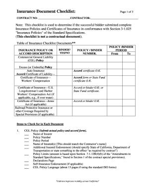 insurance checklist template