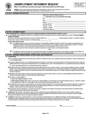 Fillable Online michigan Unemployment Deferment Request. William D ...