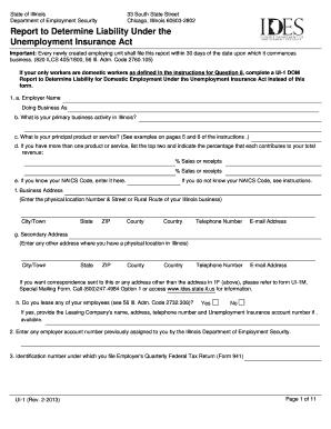 Fillable Online ides illinois Form UI-1 - IDES - Illinois.gov Fax ...