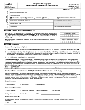 Fillable Online Colorado Form W-9 Request For Taxpayer